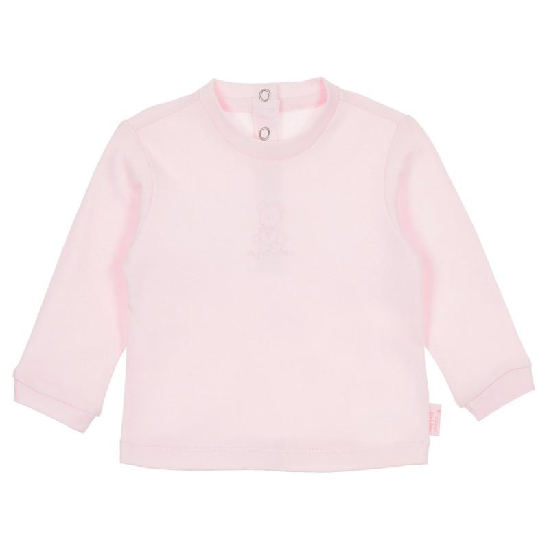 Памучна блуза с дълъг ръкав за бебе момиче, розова  244970
