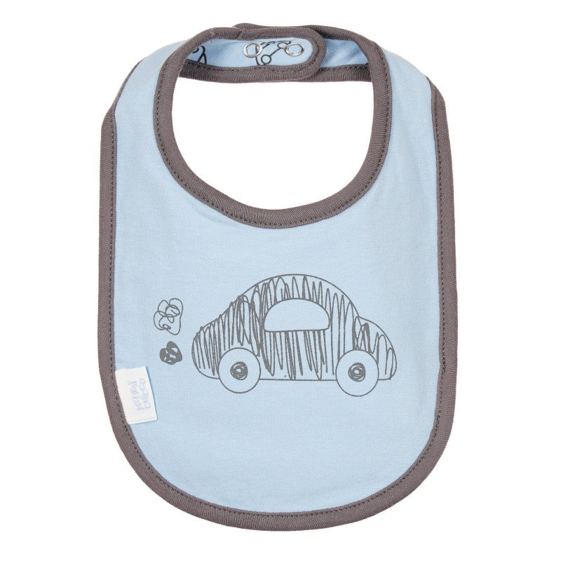 Памучен лигавник с щампа за бебе, син  244979