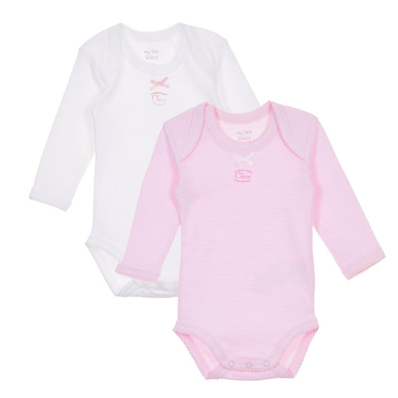 Памучен комплект от два броя бодита за бебе, бяло и розово  244992