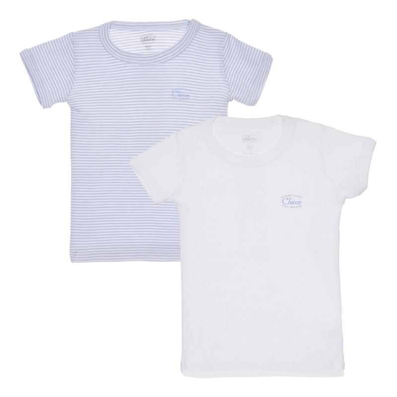 Памучен комплект от два броя тениски в бяло и синьо  244999