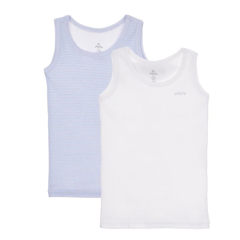 Памучен комплект от два броя потници в бяло и синьо  245049