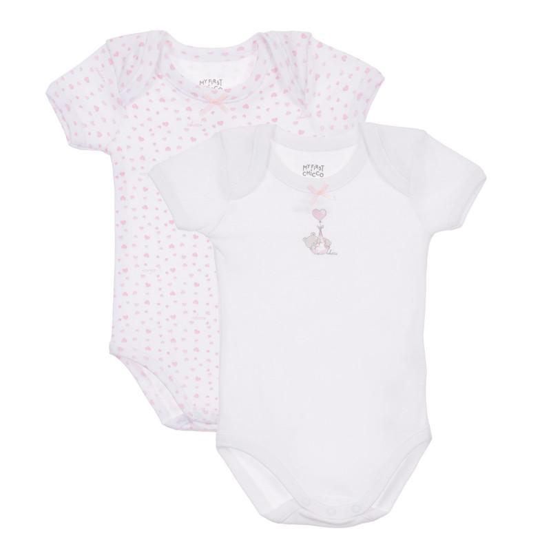 Памучен комплект от два броя бодита с къс ръкав за бебе, бели  245071