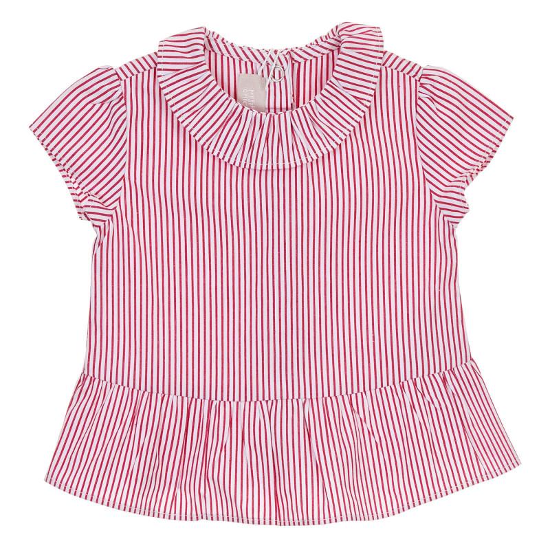 Памучна раирана блуза за бебе, в бяло и червено  245105