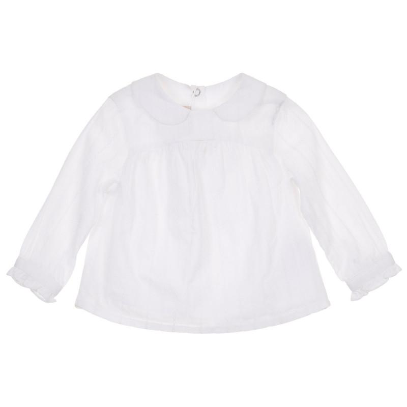 Памучна риза с дълъг ръкав за бебе, бяла  245111