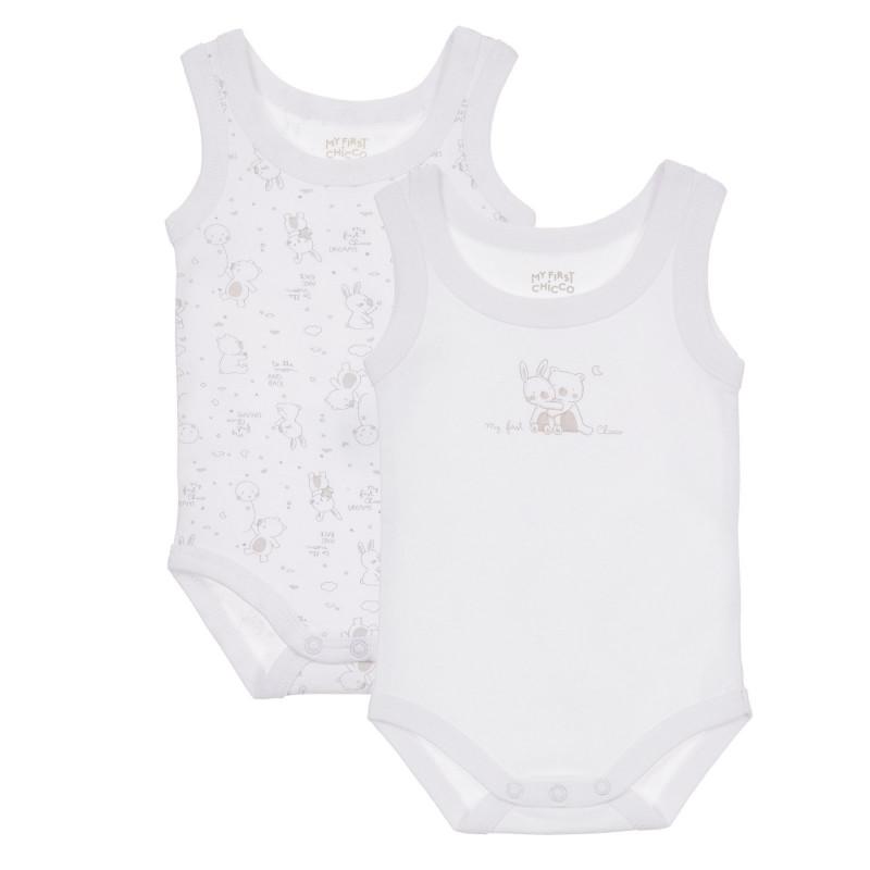 Памучен комплект от два броя бодита за бебе, бели  245124