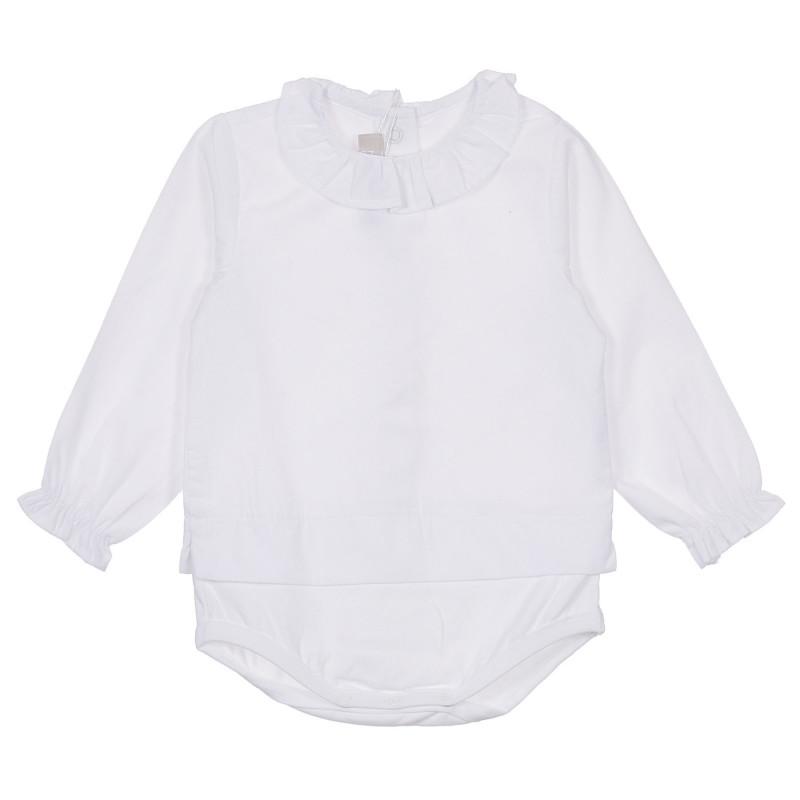 Памучно боди тип риза за бебе, бяла  245148