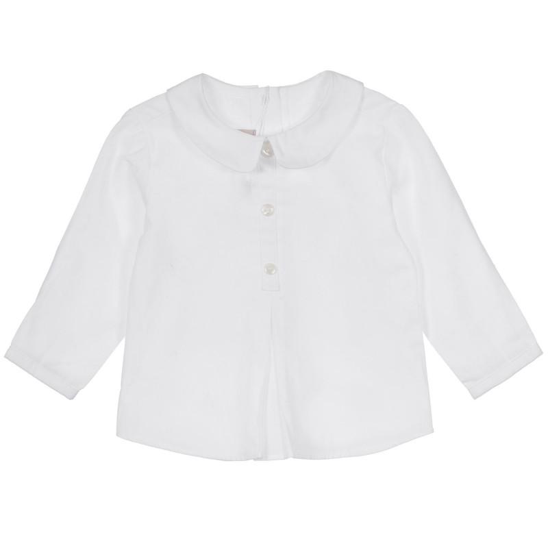 Памучна риза с обла яка за бебе, бяла  245152