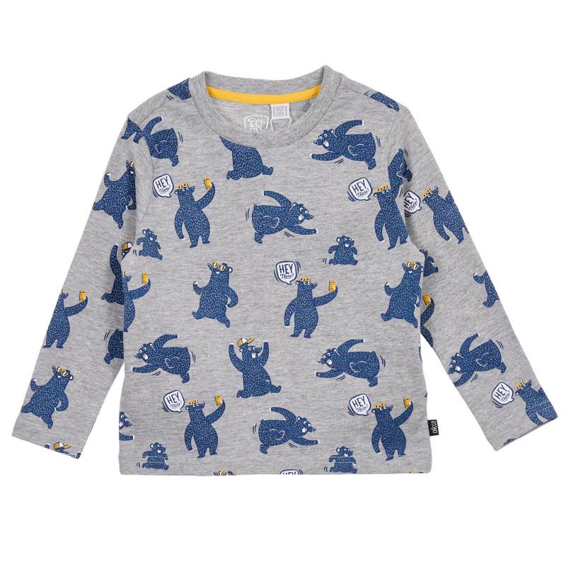 Памучна блуза с апликация мечка, сива  245213