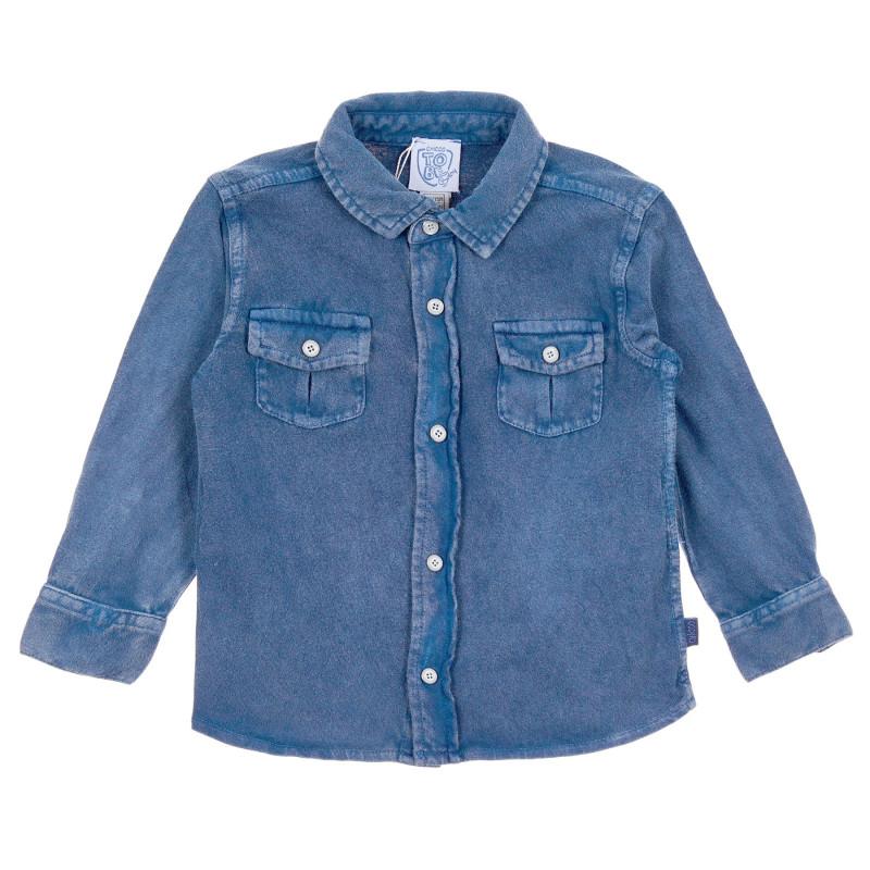 Памучна дънкова риза за бебе, синя  245217