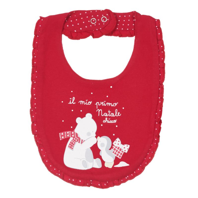 Памучен лигавник за бебе с щампа, червен  245245