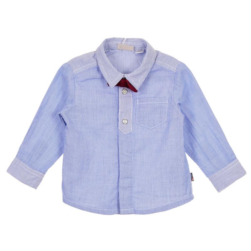 Памучна риза с червена папийонка за бебе, синя  245312