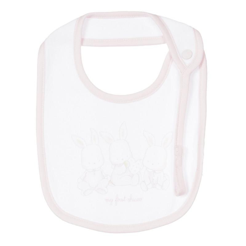 Памучен лигавник с щампа на зайчета за бебе, бял  245325