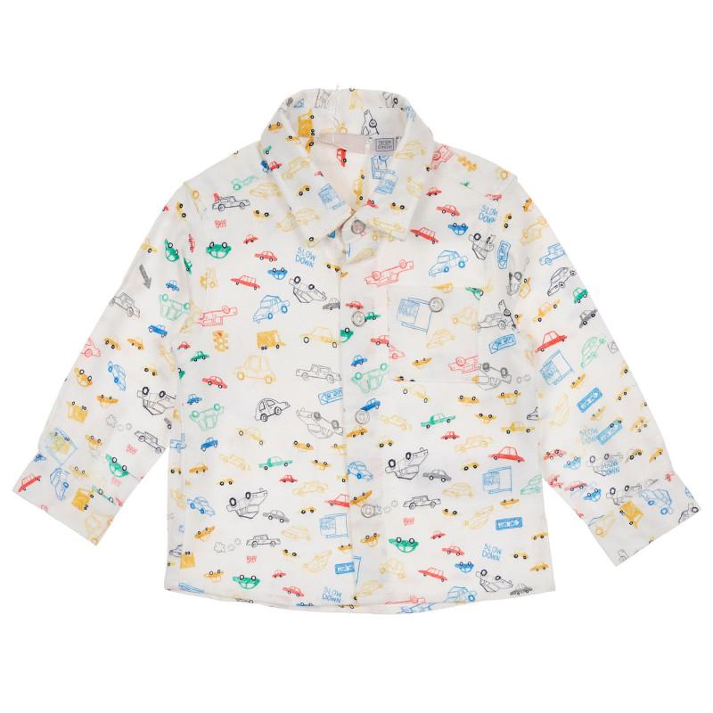 Памучна риза с графичен принт за бебе, бяла  245329