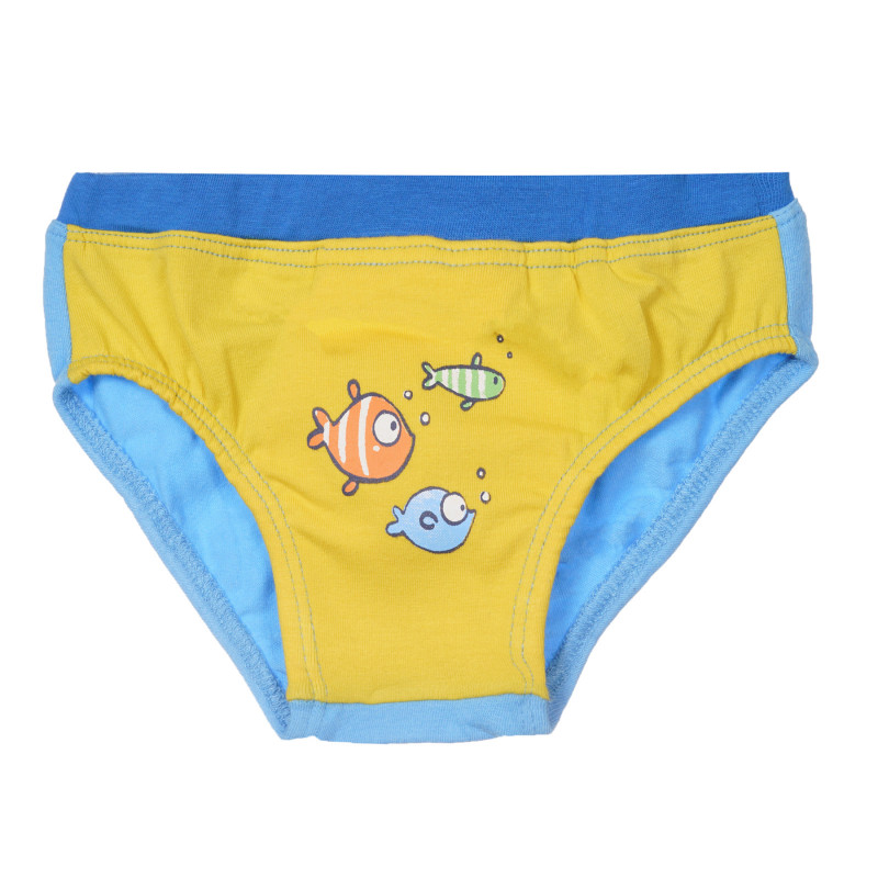 Памучни слипове за бебе в жълто и синьо  245416