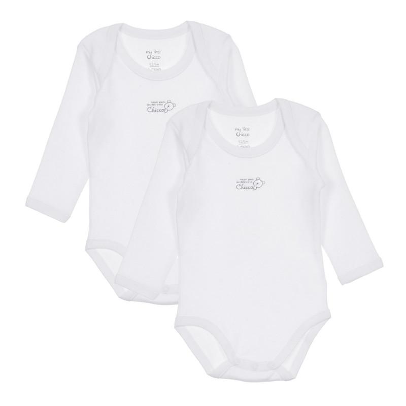 Памучен комплект от два броя бодита с дълъг ръкав за бебе  245522