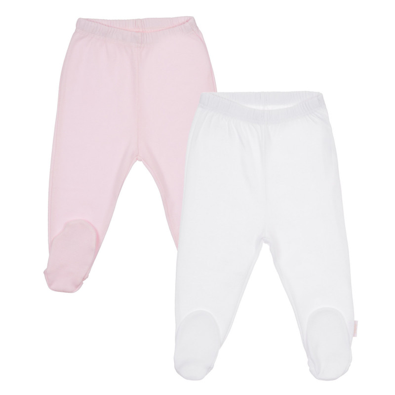 Памучен комплект от два броя ританки за бебе в бяло и розово  245529
