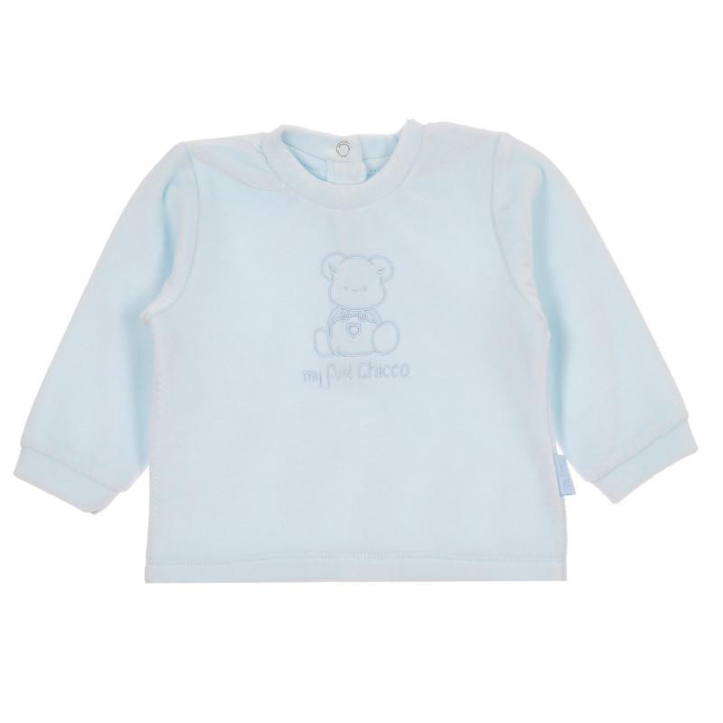 Памучна блуза с дълъг ръкав, синя  245543