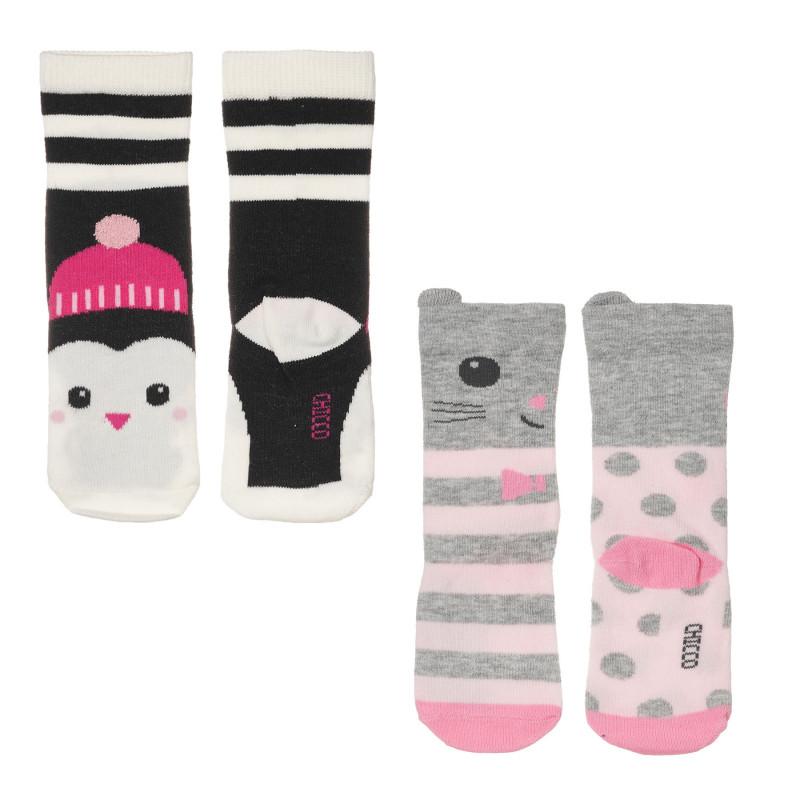 Комплект от два чифта чорапи за бебе, многоцветни  245684
