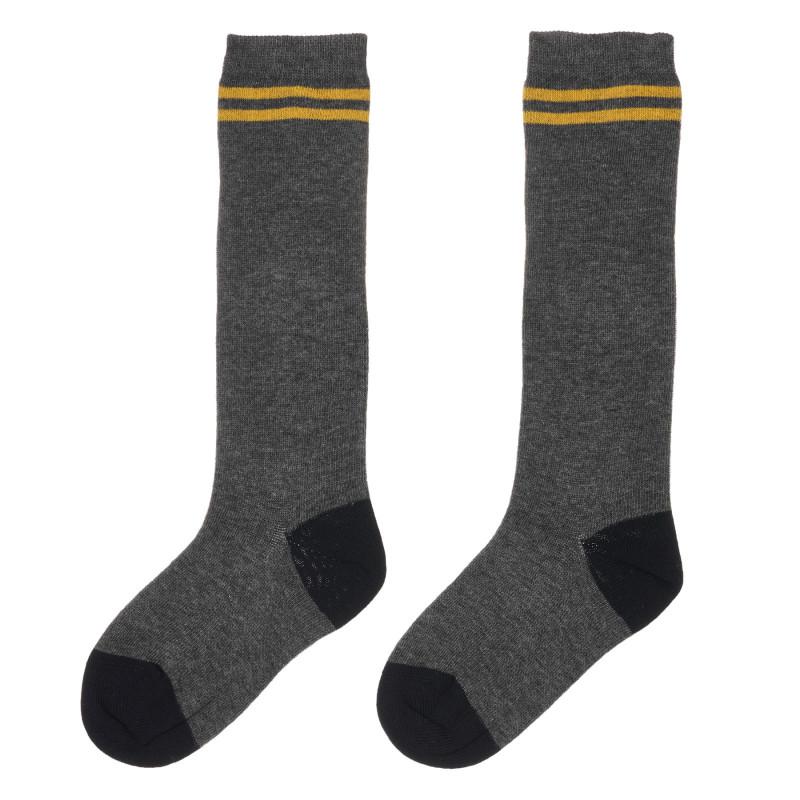 Чорапи с жълта ивица за бебе, сиви  245696