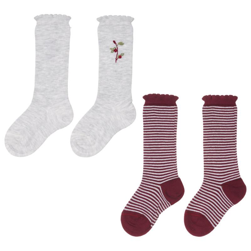 Комплект от два чифта чорапи в сиво и червено  245729
