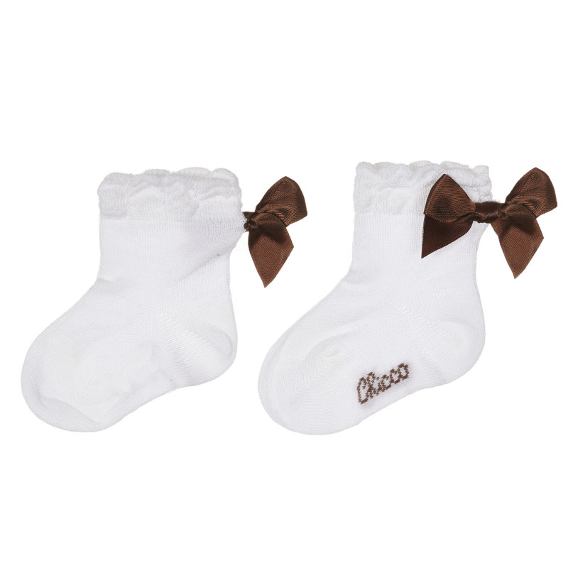Чорапи с кафява панделка за бебе, бели  245760