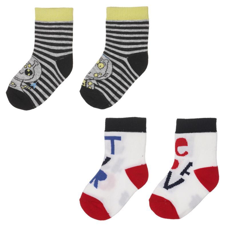 Комплект от два чифта чорапи в бяло и сиво за бебе  245768