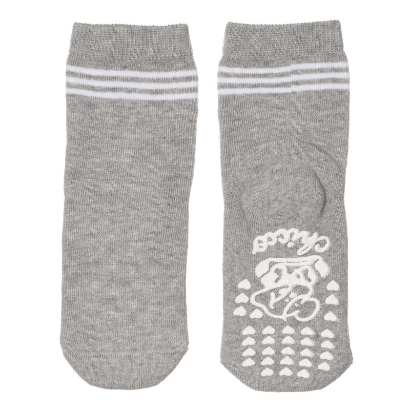 Чорапи с бели ивици за бебе, сиви  245811