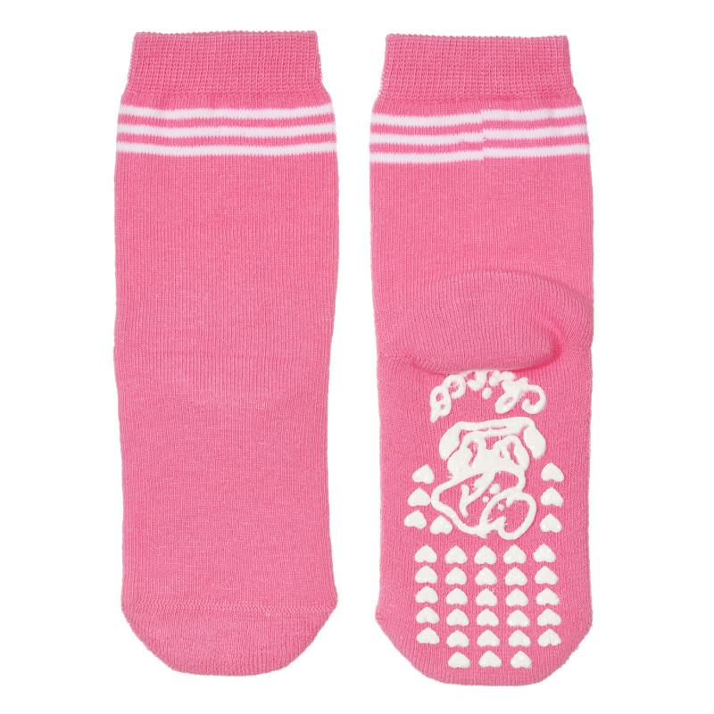 Чорапи с бели ивици, розови  245813