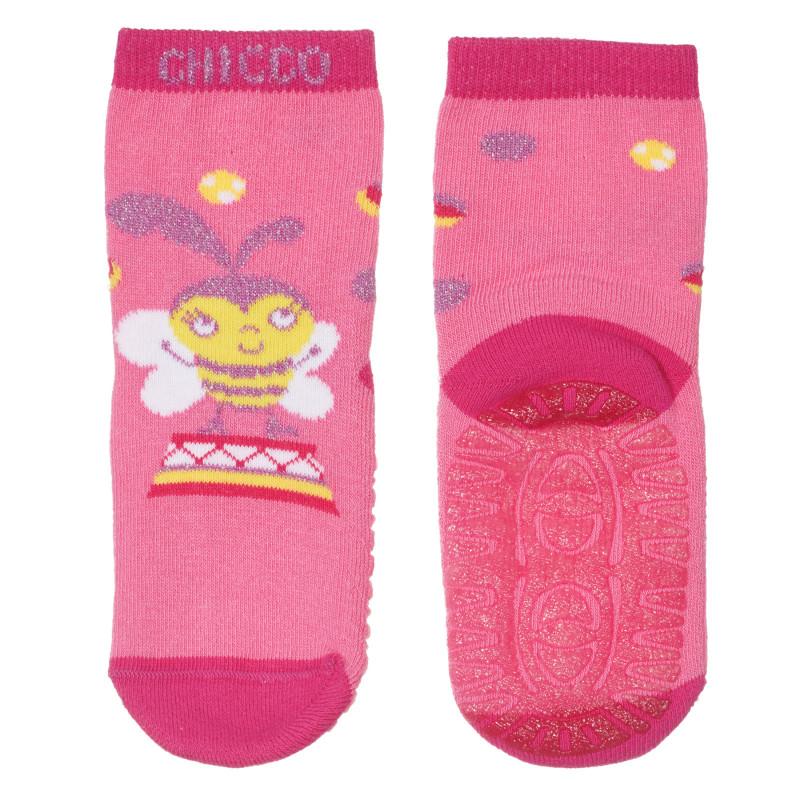 Чорапи с пчеличка за бебе, розови  245821