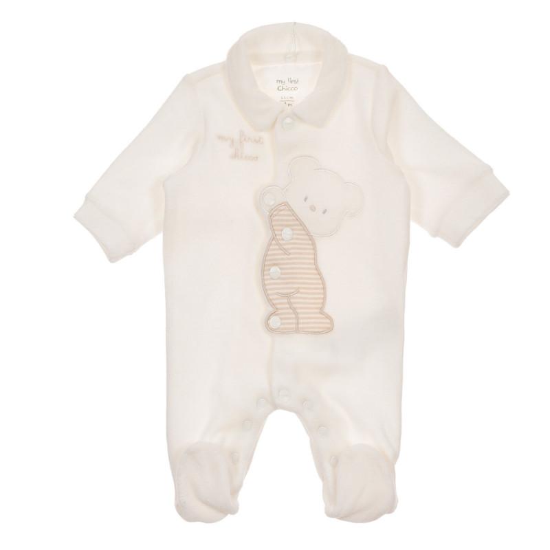 Гащеризон с апликация на мече за бебе, бежов  245841