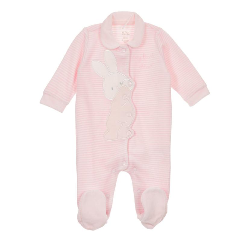 Раиран гащеризон със зайче за бебе в бяло и розово  245845