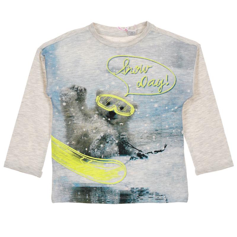 Памучна блуза с графичен принт за бебе, светло сива  245851