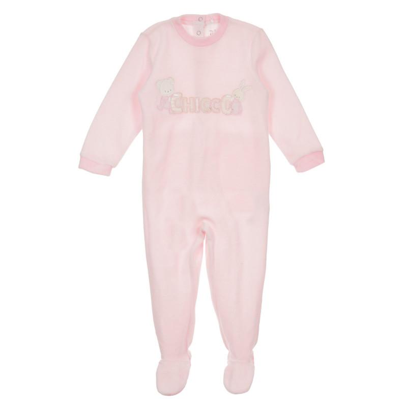 Плюшен гащеризон с надпис на бранда за бебе, розов  245859