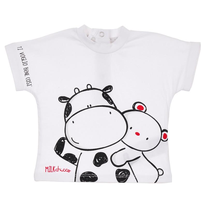 Памучна тениска с животни за бебе, бяла  245867