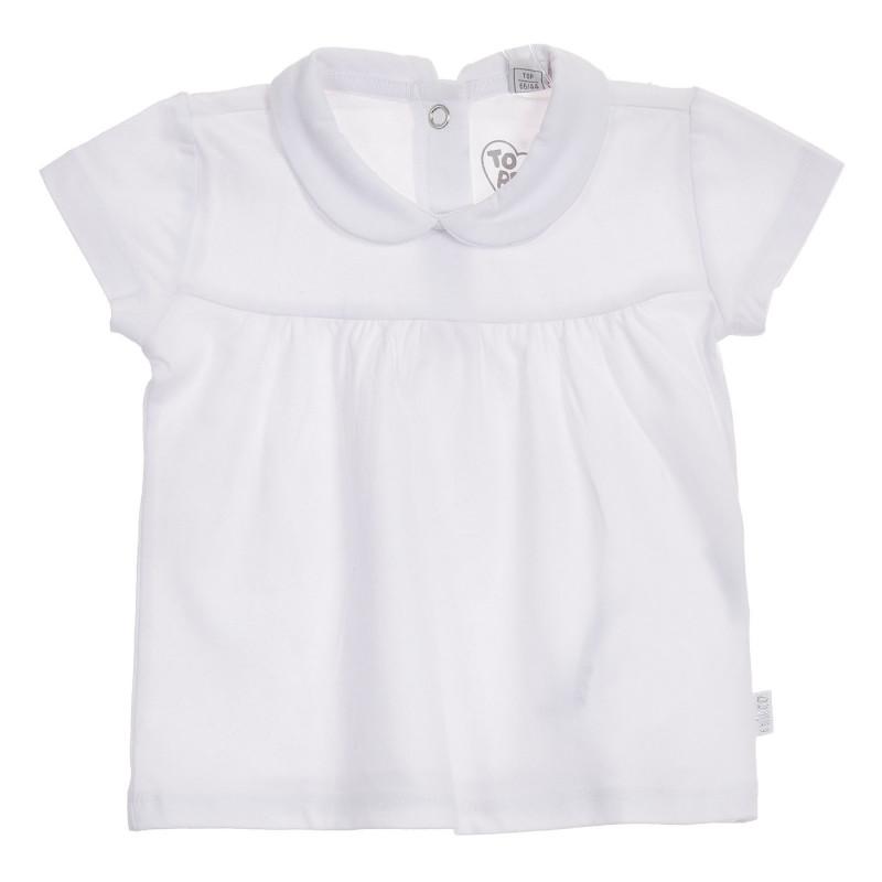 Памучна тениска с якa за бебе, бяла  245875
