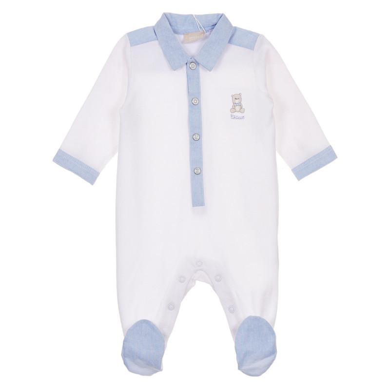 Памучен гащеризон с яка за бебе, бял  245895
