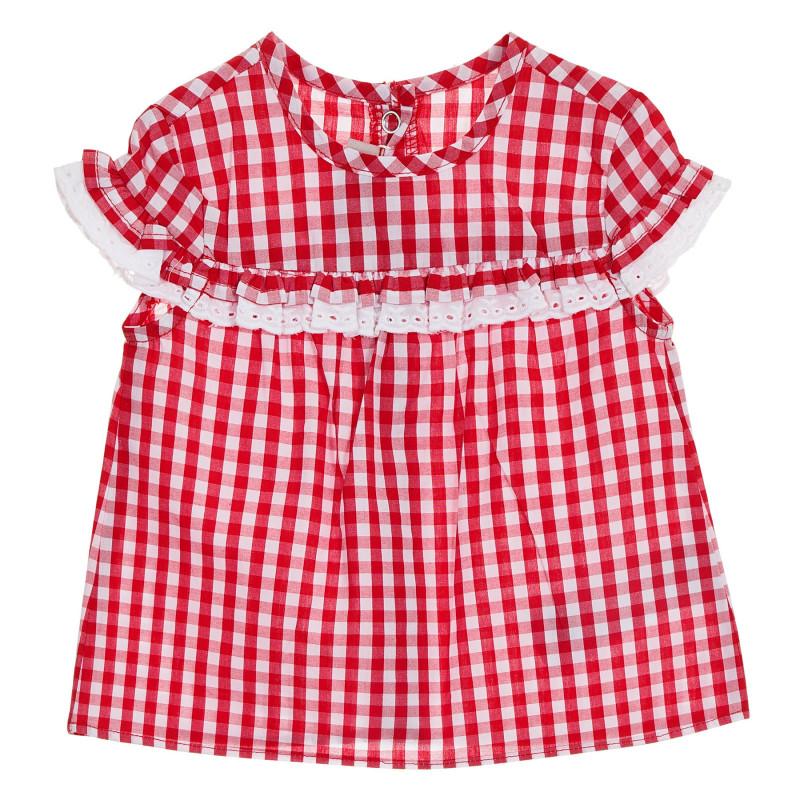 Памучна карирана рокля за бебе, червена  245899