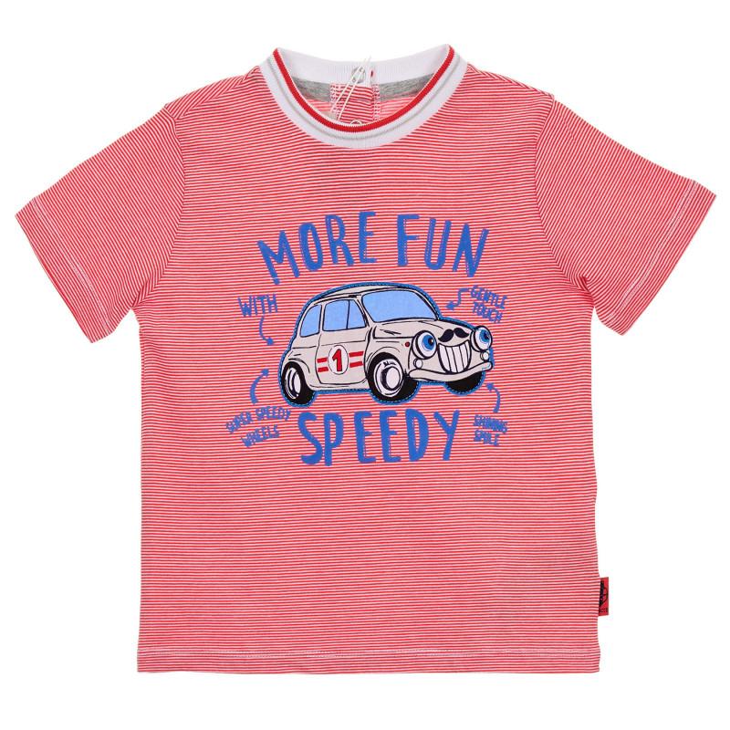 Памучна раирана червена тениска за бебе  245907