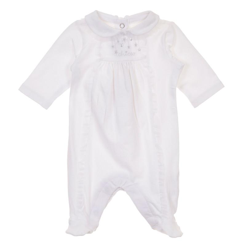 Памучен гащеризон с къдрички за бебе, бял  245918