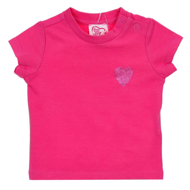 Памучна тениска с щампа на брокатено сърце за бебе, розова  245926