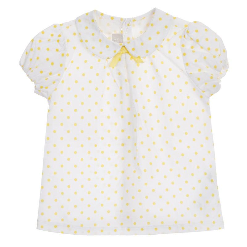 Памучна риза с фигурален принт за бебе, бяла  245930