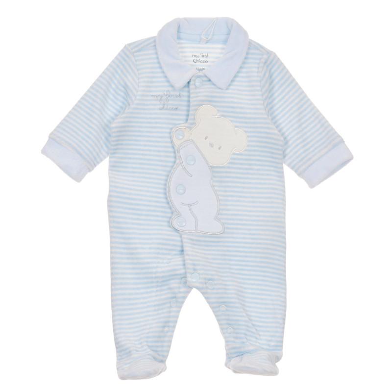 Плюшен раиран гащеризон с мече за бебе в бяло и синьо  245946