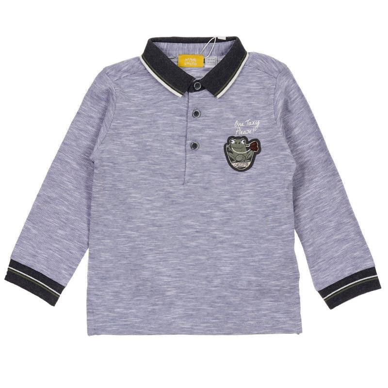 Памучна блуза с апликация на жаба за бебе, синя  245985