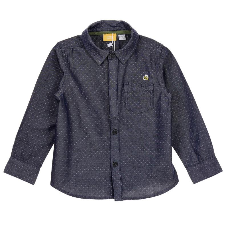 Памучна риза с фигурален принт за бебе, синя  245989