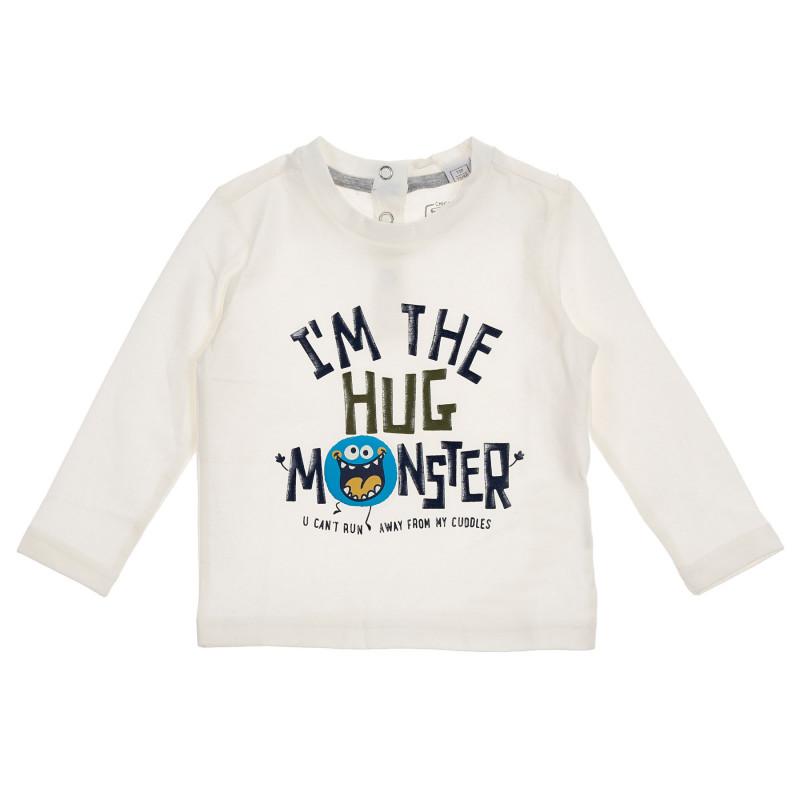 Памучна блуза с графичен принт за бебе, бяла  245997
