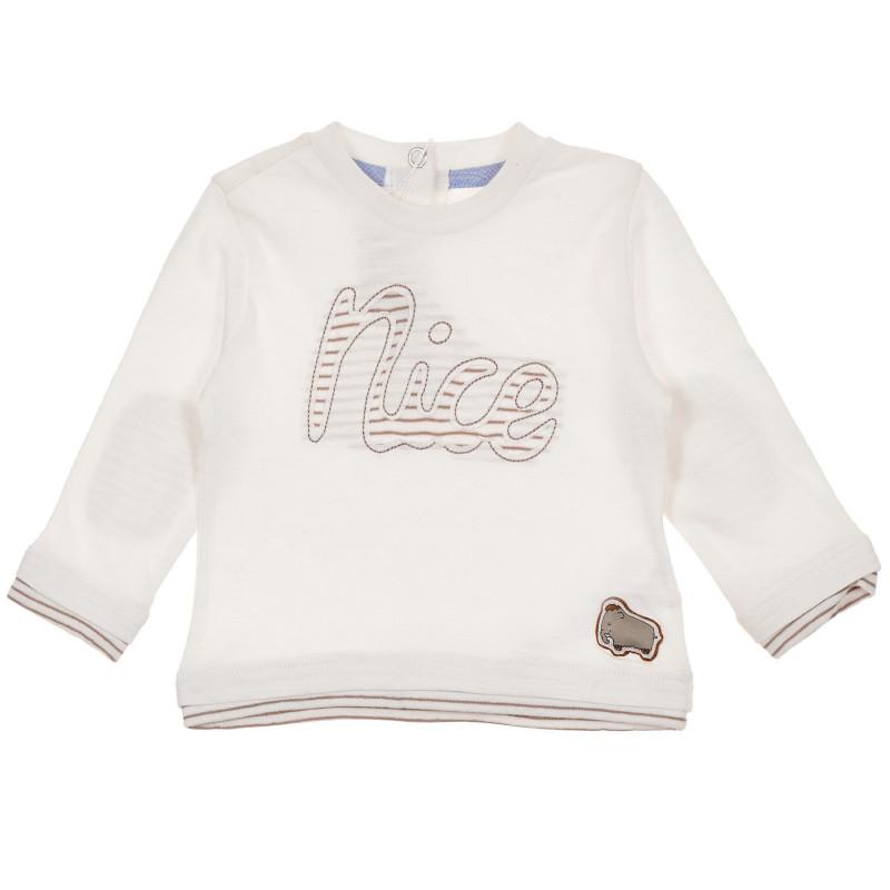 Памучна блуза с апликация Nice за бебе, бяла  246009