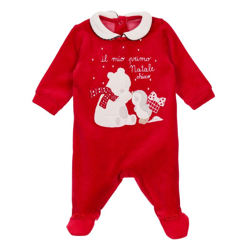 Памучен коледен гащеризон с коледни мотиви за бебе, червен  246017