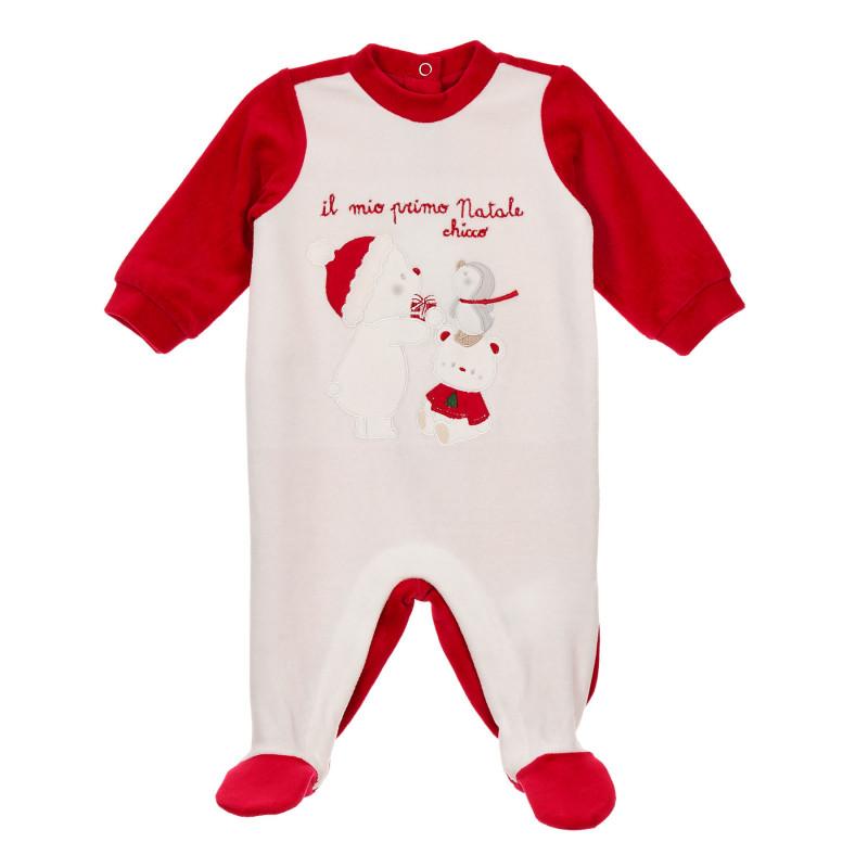 Плюшен гащеризон с коледни мотиви за бебе в бяло и червено  246021