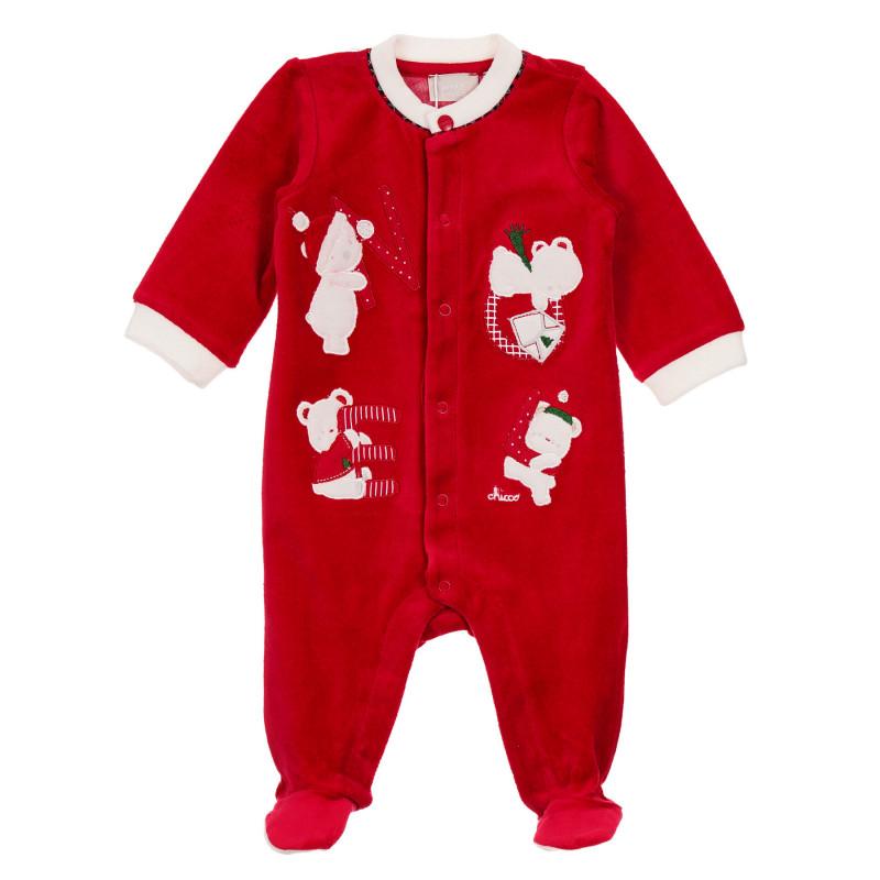 Плюшен гащеризон с коледни мотиви за бебе, червен  246025
