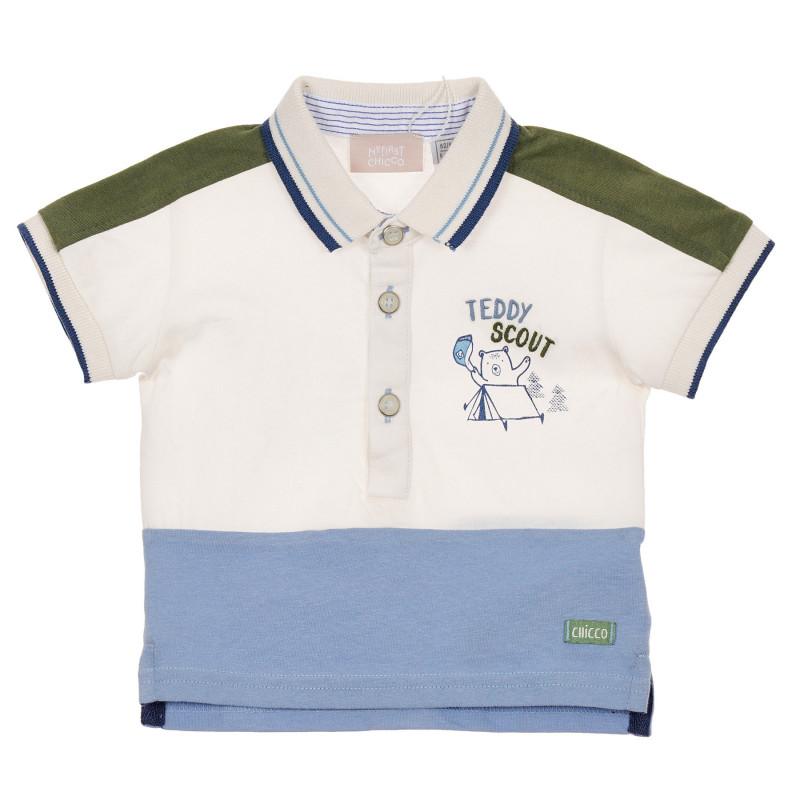 Памучна тениска с яка за бебе, многоцветна  246029